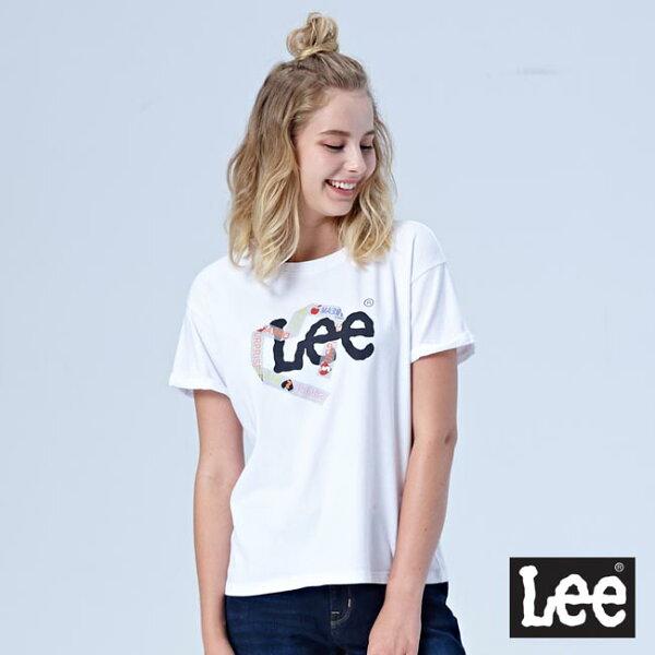 Lee愛心膠帶設計寬版短袖圓領TEE-白色