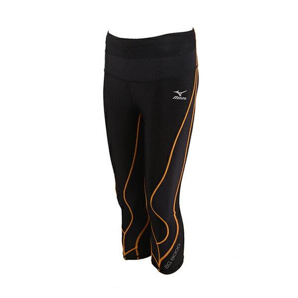 具支撐性及活動自如的 BG8000 女膝下型緊身褲A76BP-27798(黑*橙)【美津濃MIZUNO】