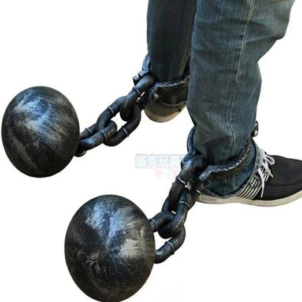 塔克玩具百貨:萬聖節囚犯犯人腳銬(單顆裝)腳球囚鍊組一體手鐐手扣玩具道具搞怪惡搞尾牙【塔克】
