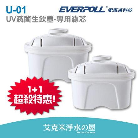【 EVERPOLL】愛惠浦科技UV滅菌生飲壺UV-805-專用濾芯U-01(2入裝)