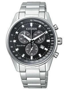 CITIZEN星辰AT2390-58E沉穩光動能三眼計時腕錶銀+黑面40mm