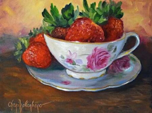 Cup and Saucer with Strawberries Poster Print by Cheri Wollenberg (9 x 12) 2fbb1b36b72aad6b9cdc2fad339e926d