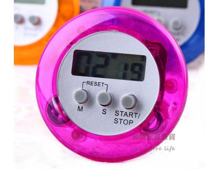 約翰家庭百貨》【WA150】彩色圓形電子計時器 廚房定時器 提醒器 正數 倒數 99分59秒 隨機出貨
