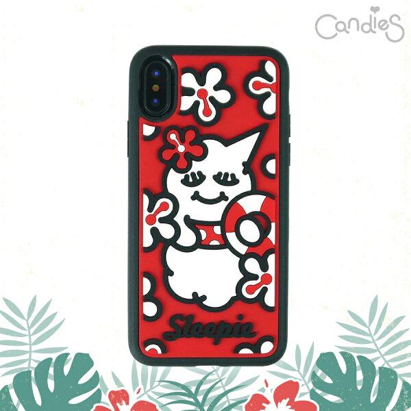 【Candies】睡眠寶寶方型殼(夏日紅)-IPhoneX
