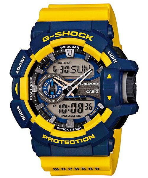 國外代購 CASIO G-SHOCK GA-400-9B 雙顯 大錶面 運動防水手錶腕錶電子錶男女錶 藍黃