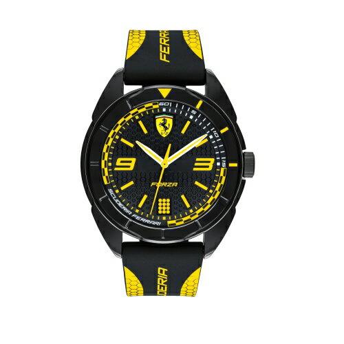 FERRARI輪胎紋大三針橡膠時尚腕錶黃0830516