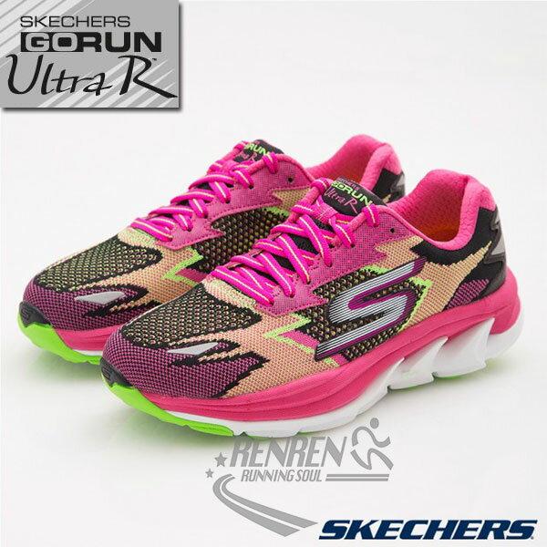 SKECHERS 女慢跑鞋GO Run Ultra R (黑*粉*繽紛 ) 跑步系列  路跑  簡嫚書代言款