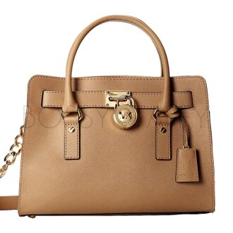 MICHAEL KORS 30S2GHMS3L 經典Logo鎖頭卡其皮革鏈條背帶中號手提斜背方包 Hamilton Saffiano Leather Medium Satchel khaki