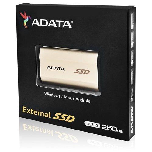 ADATA SE730 USB 3.1 Gen 2 Type-C External SSD 250GB Rose Gold (ASE730-250GU31-CGD) 3
