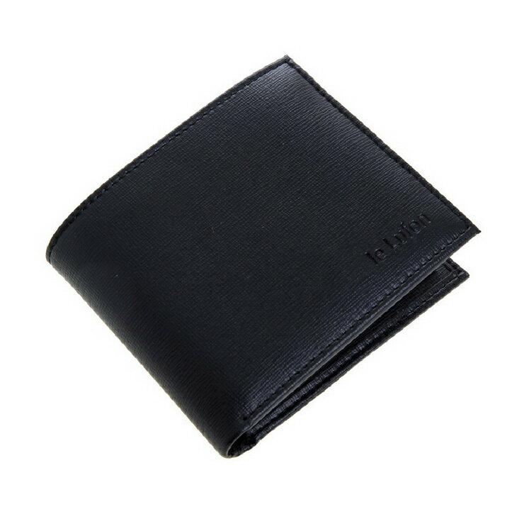 【le Lufon】雅痞十字紋皮革可折式子母短夾/男夾/零錢包 /卡夾(黑/棕色二色)