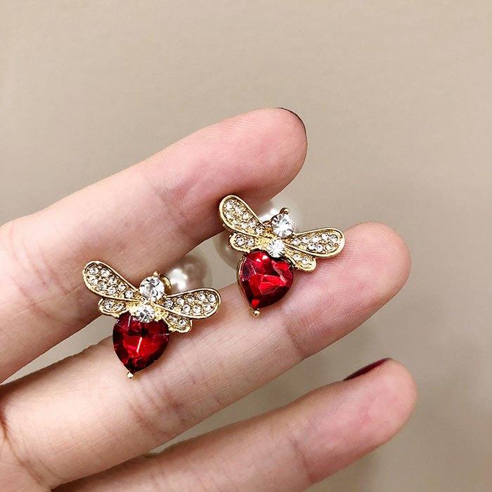 耳環 個性 愛心 鑲鑽 珍珠 甜美 氣質 雙面 耳釘 耳環【DD1812021】 BOBI  03 / 07 6