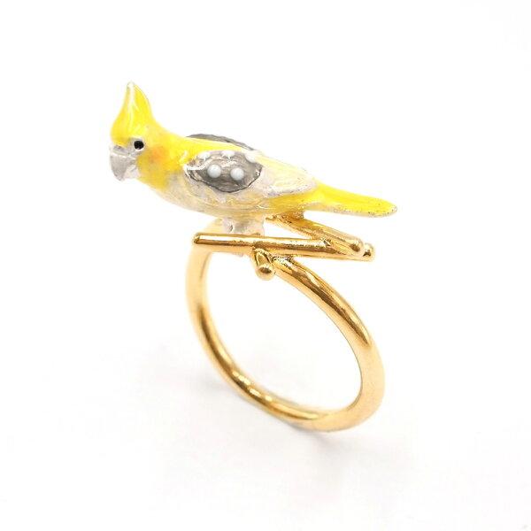 〔APM飾品〕日本gargle春風鳥語玄鳳鸚鵡戒指