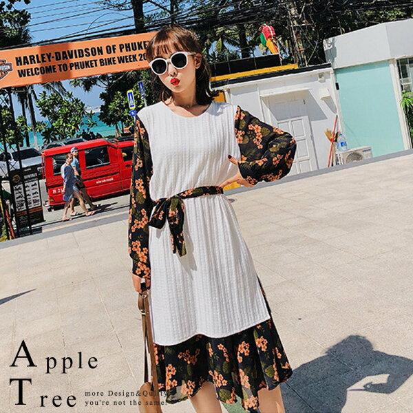 蘋果樹AppleTree:AT日韓-韓國,雪紡碎花拼接假兩件針織連身裙2色【712050】