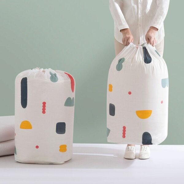 加大款束口棉被收納袋幾何碎花款棉被袋HMC111