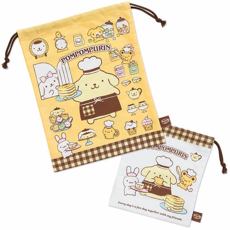 【真愛日本】17091600039 日本製束口提袋2入-PN廚師鬆餅+ABD 三麗鷗 布丁狗 收納包 化妝包 萬用包