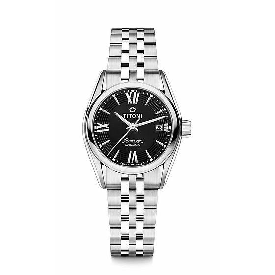 TITONI瑞士梅花錶23909S-343空中霸王雙色經典機械腕錶/黑條紋面27mm