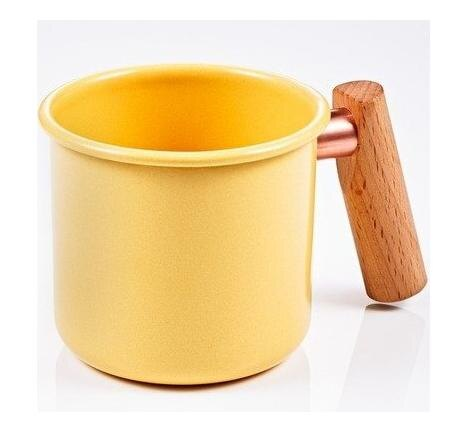 [ Truvii ] 木柄琺瑯杯/木頭琺瑯杯/琺瑯咖啡杯/日系雜貨風馬克杯 250ml奶油黃