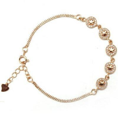 ~玫瑰金手鍊 鑲鑽純銀手環 ~ 大方花朵星情人節生日 女飾品2色73dl77~ ~~米蘭