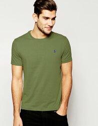 美國百分百【Ralph Lauren】男 素面 短袖 T恤 T-shirt 圓領 上衣 RL polo 軍綠 XS號 B018