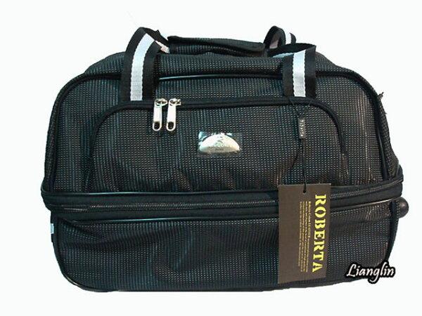 良林皮件:【RobertaColum諾貝達】(可登機)多功能可加大拉桿旅行袋(黑)(小)