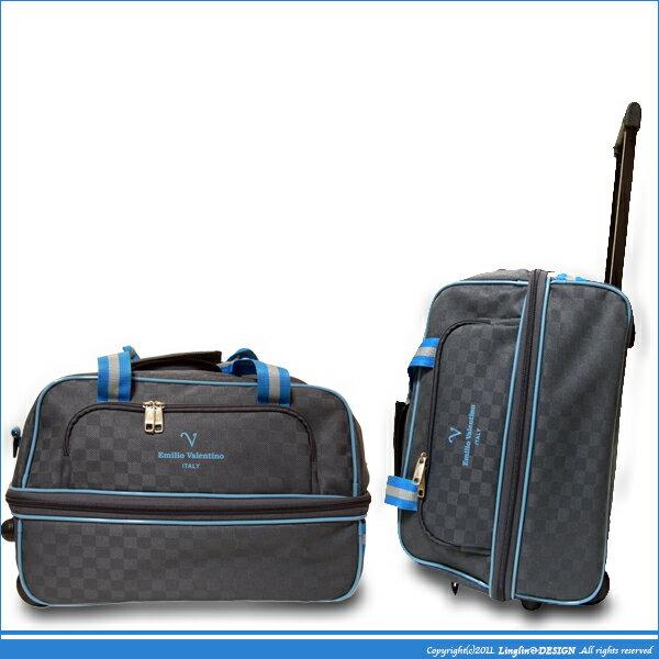 【Emilio valentino范倫鐵諾】(可登機)多功能可加大拉桿旅行袋(灰)(小)