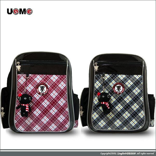 UnMe 輕量兒童護脊易背防水格紋書包/小學生後背書包3214