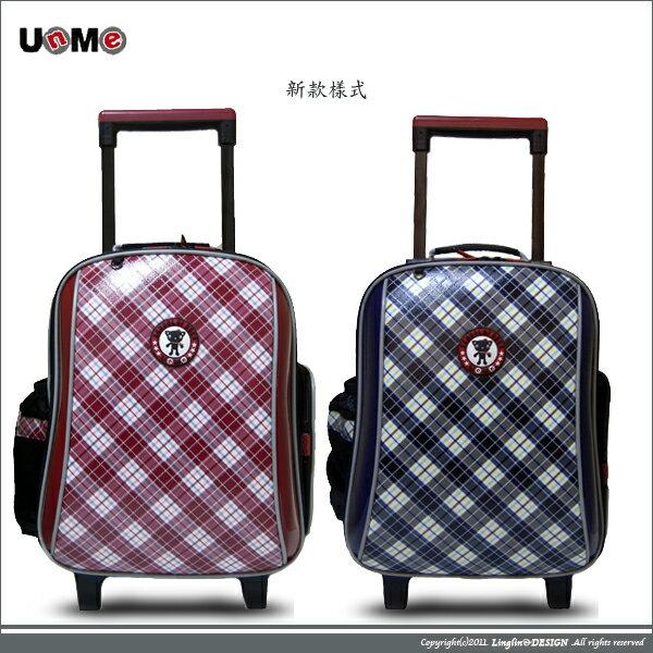 良林皮件:UnMe兒童造型格紋拉桿背包小學生後背書包3328