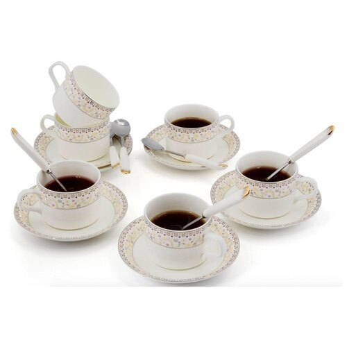 Porcelain Tea Cup and Saucer Coffee Cup Set with Saucer and Spoon 18 pc, Set of 6 TC-ZSCQ 46e42881b566feff4f8beff161f50a2d