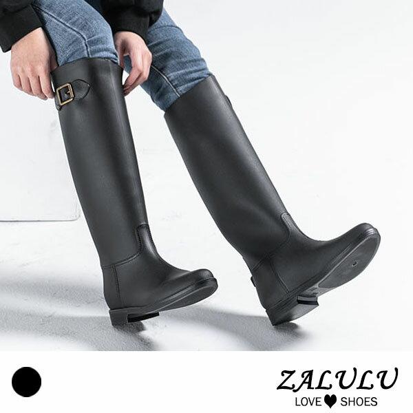 JK015 預購 防水高筒修身搭扣雨鞋-黑-36-40【ZALULU愛鞋館】 0
