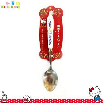 三麗鷗凱蒂貓Hello Kitty 陶瓷把手 尖頭 不鏽鋼湯勺湯匙 陶瓷不鏽鋼餐具 日本進口正版 170286