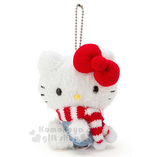 〔小禮堂〕Hello Kitty 絨毛娃娃吊飾《藍.側坐.紅白圍巾》