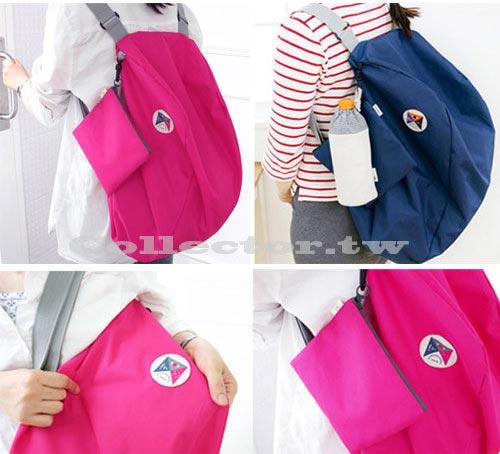 【G13080901】韓版 多功能變換可折疊收納包 單肩包 雙肩背包