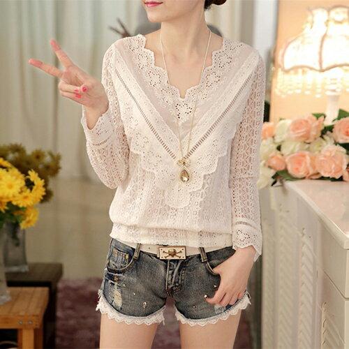 韓版V領長袖顯瘦修身衫蕾絲衫 (白色,M~2XL) - ORead 自由風格 - 限時優惠好康折扣