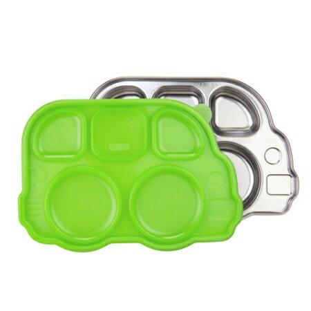 美國 Innobaby 不鏽鋼巴士造型餐盤 綠色 附餐盤蓋 *夏日微風*