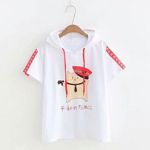 小貓印花休閒連帽學院風T恤(3色F碼)【OREAD】 1