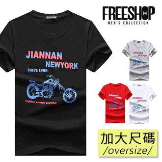 短T Free Shop【QTJJN03】日韓風格摩托車雙色印花圓領棉質短T短袖上衣 四色 情侶款 有大尺碼