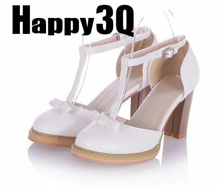 氣質甜美T字扣搭蝴蝶結高跟涼鞋粗跟高跟鞋-紫/白/粉/藍33-43【AAA0041】