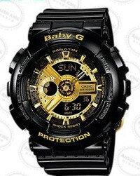 國外代購CASIO BABY-G BA-110-1A 黑金 雙顯 防水 手錶 腕錶 情侶錶