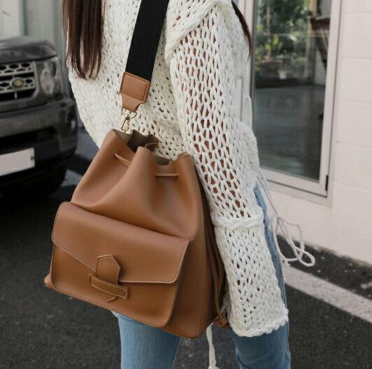韓風復古抽繩寬帶背包 側背包 肩背包