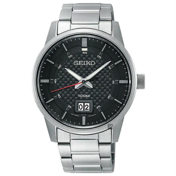 Seiko精工錶6N76-00H0D(SUR269P1)城市CS系列日期視窗腕錶銀色*黑面41mm