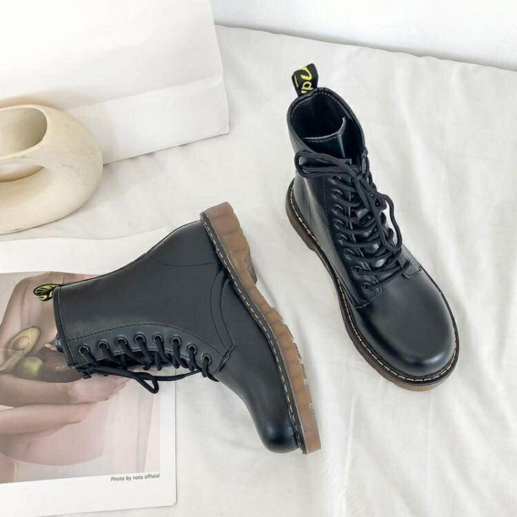馬丁靴女英倫風春秋季新款百搭網紅薄款透氣單靴瘦瘦短靴子夏