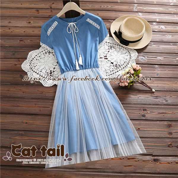 《貓尾巴》TS-0941個性牛仔拼接網紗短袖連身裙(森林系日系棉麻文青清新)