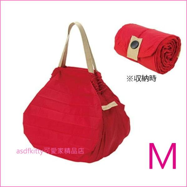 asdfkitty可愛家☆日本MARNAShupatto紅M號輕量購物袋環保袋耐重快速摺疊收納-正版