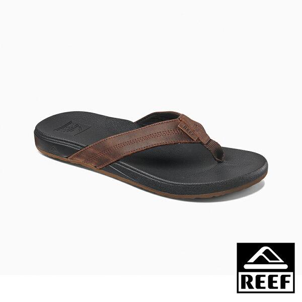 【新品9折↘】REEF能量彈力系列最適合亞洲人腳型真皮側邊縫製織帶舒適好穿防滑耐磨男款升級版夾腳拖人字拖鞋.黑棕RF0A3FEZBKB