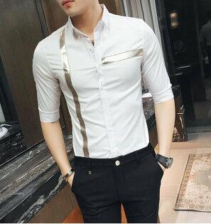 FINDSENSE品牌男時尚潮薄款特色橫條豎條修身中袖襯衫七分袖襯衫
