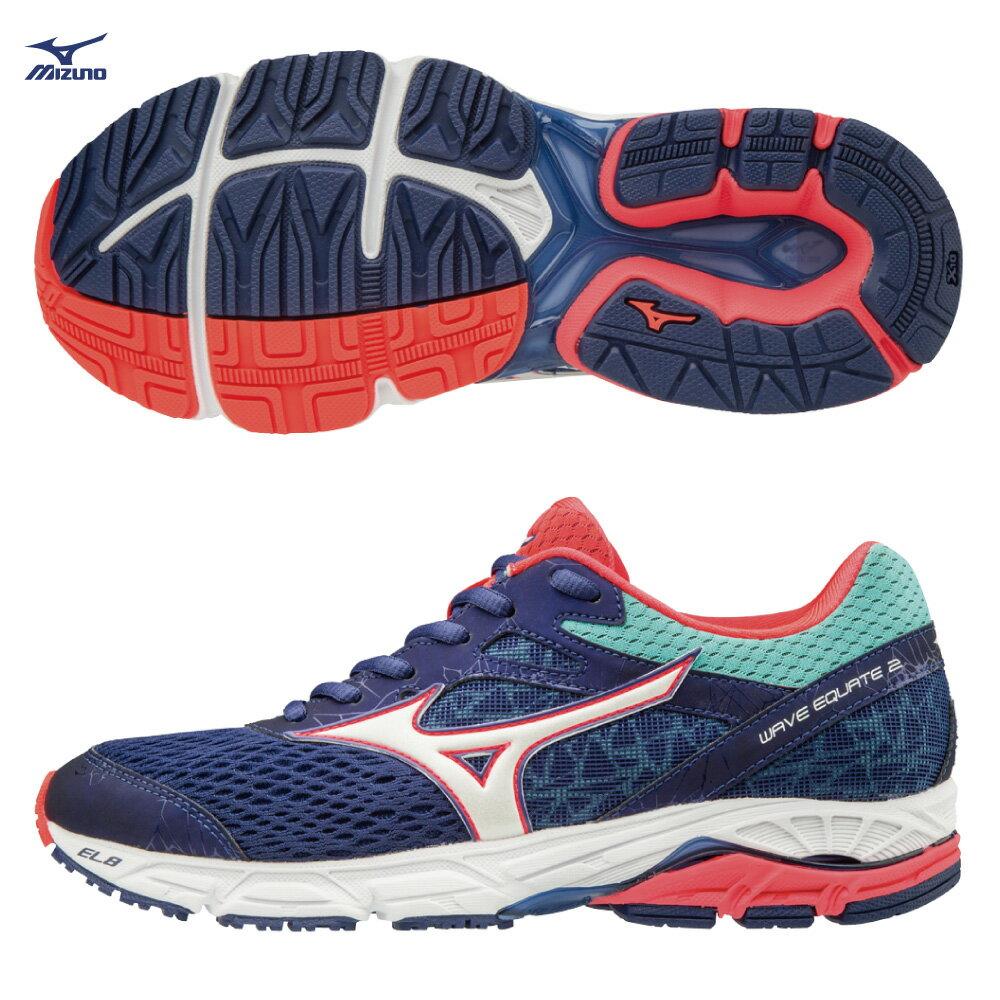 J1GD184802(丈青X白X橘)中低足弓適用 WAVE EQUATE2 支撐型 女慢跑鞋 S【美津濃MIZUNO】