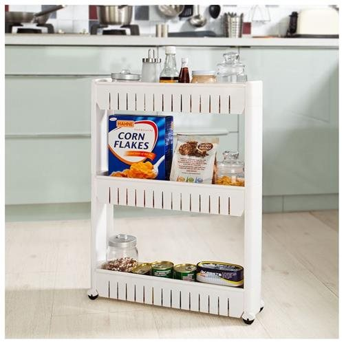 Haotian Kitchen Storage Cart / Cupboard With Casters,Slide Out Storage  Tower, 3 Tiers