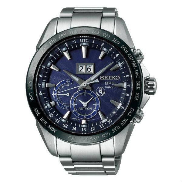 SeikoAstron8X42-0AC0B(SSE147J1)太陽能GPS對時大視窗日期時尚腕錶藍面45.5mm