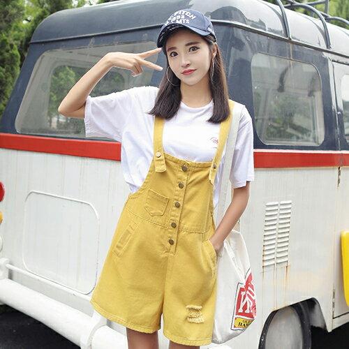 韓版牛仔背帶褲短褲(3色S~XL)*ORead* 0