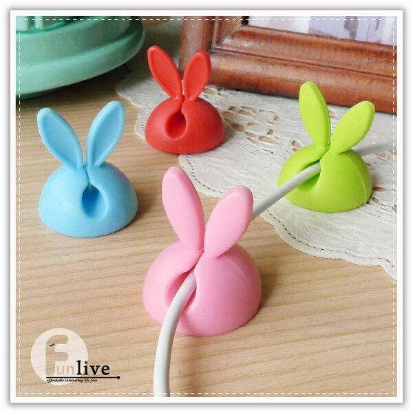 【aife life】兔耳固線器-4入/萌兔耳朵 桌面集線器 糖果色固線器 捲線器 理線器 整線器 夾線器